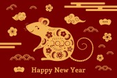 2020 Chinese New Year greeting card with rat and clouds with flowers on red background Concept for holiday banner