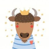 Hand drawn portrait of a cute bison in shirt and crown with stars Vector illustration Isolated on white background Scandinavian style flat design Concept for children print