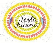Festa Junina poster with lanterns and bunting with confetti and Portuguese text Hand drawn vector illustration Flat style design Concept for Brazilian holiday banner