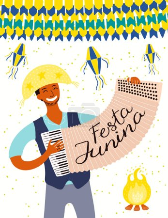 Illustration for Festa Junina poster with musician playing accordion and lanterns with bunting and Portuguese text. Hand drawn vector illustration. Flat style design. Concept for Brazilian holiday banner - Royalty Free Image
