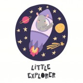 Hand drawn vector illustration of cute rhino astronaut flying rocket in space with quote Little explorer Isolated on white background Scandinavian style flat design Concept for children print