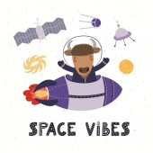 Hand drawn vector illustration of cute bison astronaut flying rocket in space with quote Space vibes Isolated on white background Scandinavian style flat design Concept for kids print