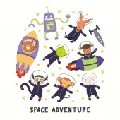 Big set of cute animal astronauts in space with planets and stars isolated on white background Hand drawn vector illustration Scandinavian style flat design Concept for children print