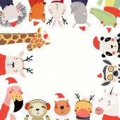New Year frame with cute cartoon animals in Santa Claus hats Scandinavian style flat design Concept for kids print