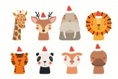 Christmas set with cute animals in Santa Claus hats isolated on white background Scandinavian style flat design Concept children print