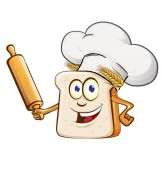 bread chef with rollin pin cartoon isolated on white background