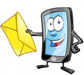 smartphone cartoon character with envelope Clip Art Vector illu