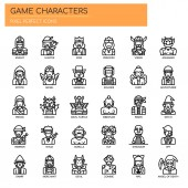 Game Characters  Thin Line and Pixel Perfect Icons