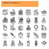 Hawaii Symbols  Thin Line and Pixel Perfect Icons