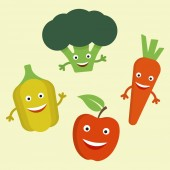 Funny cartoon vegetables vector flat illustration