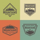Mountains four vector colored vintage badges