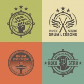 Drum school or academy vector colored emblems