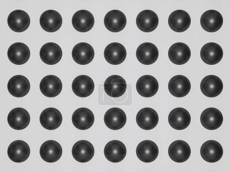 Black bubbled background, 3d render of a wall decorated with dark plastic bubbles. Black caviar effect.