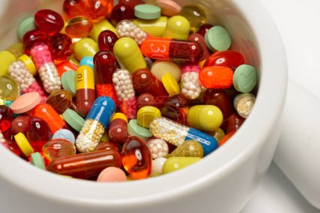 various pills in the bowl