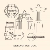 Discover Portugal banner or poster template with icons in line style