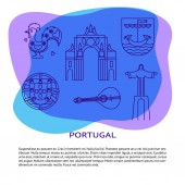 Portugal banner or poster template with icons in line style