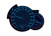 Car speedometer with tachometer Speedometer with neon lights Vector round speedometer isolated on a white background