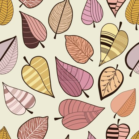 Illustration for Seamless pattern with abstract stylized colorful leaves on beige background - Royalty Free Image