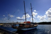 Sliema, Malta - 10th July 2018:Hera two masted yacth in the harbour of Sliema