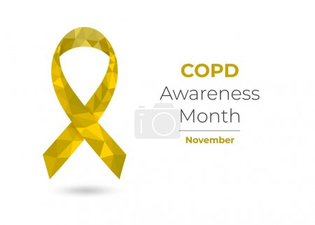 Illustration for COPD Awareness Month November concept with yellow low poly ribbon. Colorful vector illustration for web and printing. - Royalty Free Image