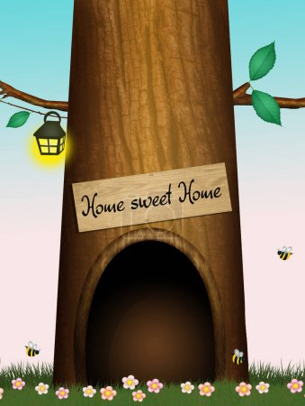 Photo pour Maison dans le tronc de l'arbre - image libre de droit