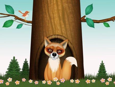 Photo pour Illustration du renard roux dans la tanière du tronc d'arbre - image libre de droit