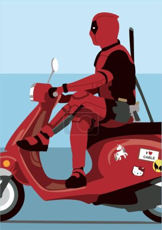 deadpool on a scooter