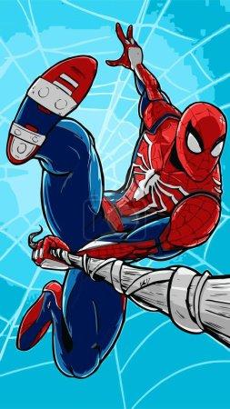 flying jump SpiderMan vector