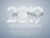 Vector chic Merry Christmas 2019 Greeting Card Silver set of Alphabet Letters Numbers and Symbols Stylish Elegant Font