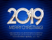 Vector chic Merry Christmas 2019 Greeting Card with Alphabet set of Letters Symbols and Numbers Golden Magical Font