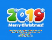 Vector colorful Children Greeting Card Merry Christmas 2019 Bright Font with Snoflakes Kids Alphabet Letters Numbers and Symbols