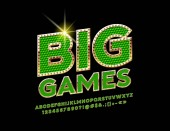 Chic Sign Big Games Vector Green Diamond Pattern with Gold Alphabet Letters Numbers and Symbols Royal stylish Font
