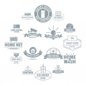 Smart home logo icons set simple style