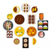 Japan food icons set in flat style