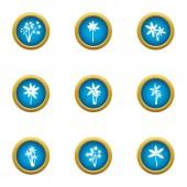 Florescence icons set flat style