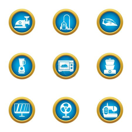Household appliance icons set, flat style