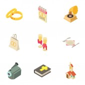 Ministration icons set Isometric set of 9 ministration vector icons for web isolated on white background