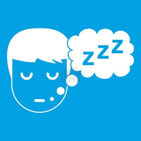 Boy head with speech bubble icon white