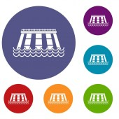 Hydroelectric power station icons set