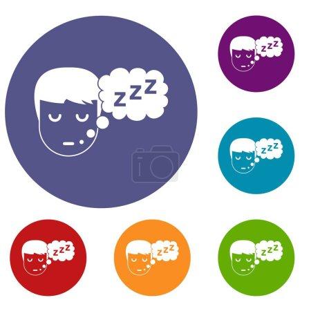 Boy head with speech bubble icons set