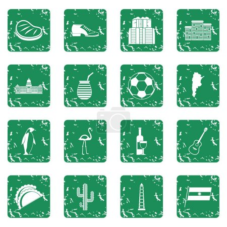 Illustration for Argentina travel items icons set in grunge style green isolated vector illustration - Royalty Free Image