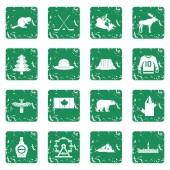 Canada travel icons set grunge