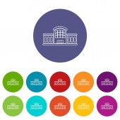Railway station icons set vector color