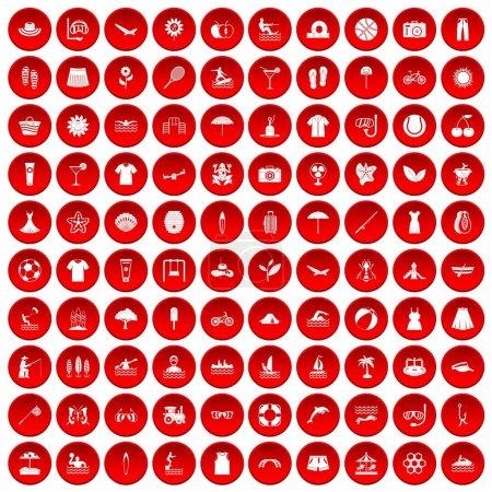 Illustration pour 100 icônes estivales placées en cercle rouge isolé sur une illustration vectorielle blanche - image libre de droit