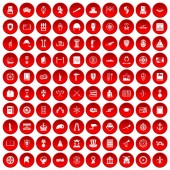100 history icons set red