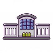 Railway station icon cartoon style