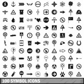 100 symbol icons set simple style