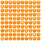100 laboratory icons set orange