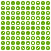 100 laboratory icons hexagon green