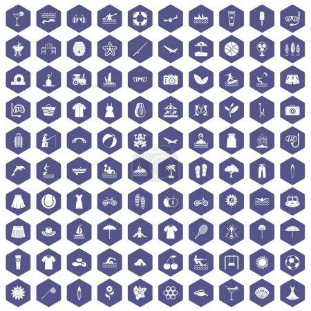 Illustration pour 100 icônes estivales en illustration vectorielle isolée hexagone violet - image libre de droit